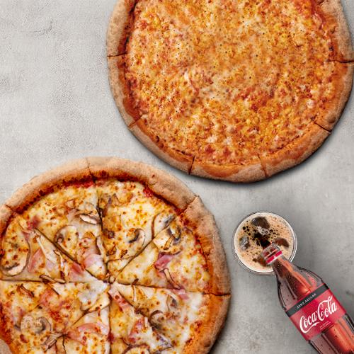 Combo 30% DTO 2 Pizzas Medianas Tradicionales + 1 Bebida 1lt (antes a 30,85)